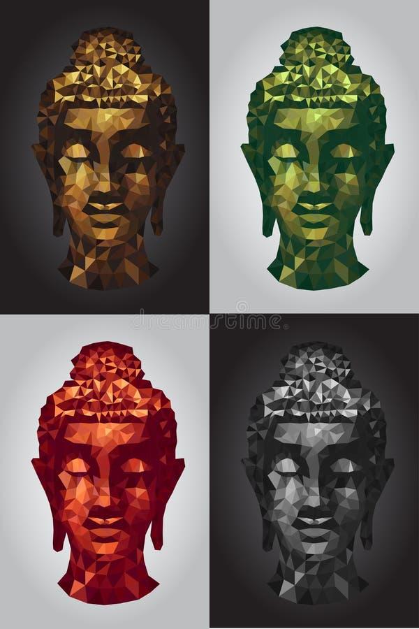 Abstract tradition head buddha polygon set. Vector stock illustration