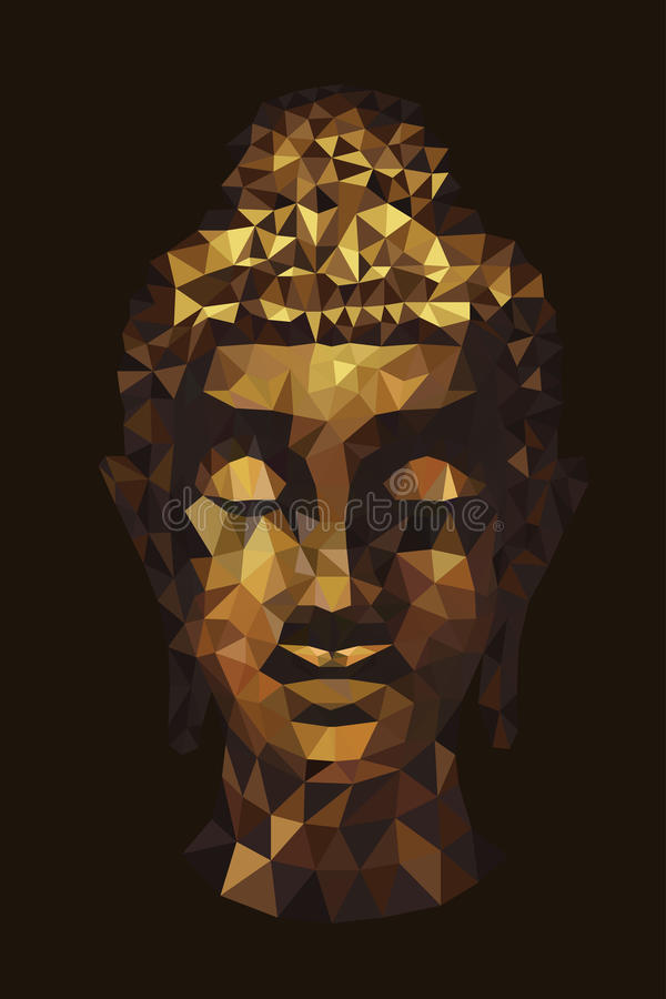 Abstract tradition head buddha polygon. Vector royalty free illustration