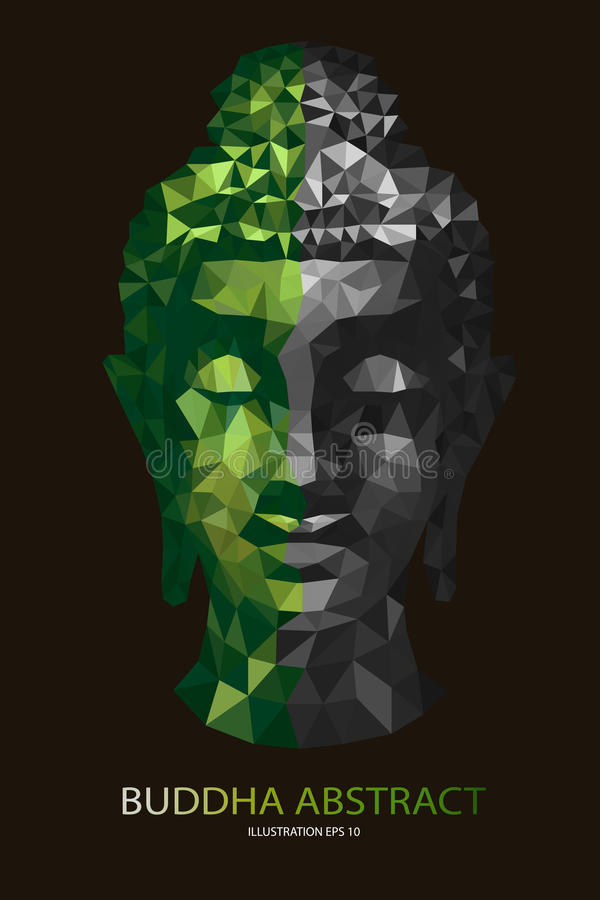 Abstract tradition head buddha polygon. Vector stock illustration