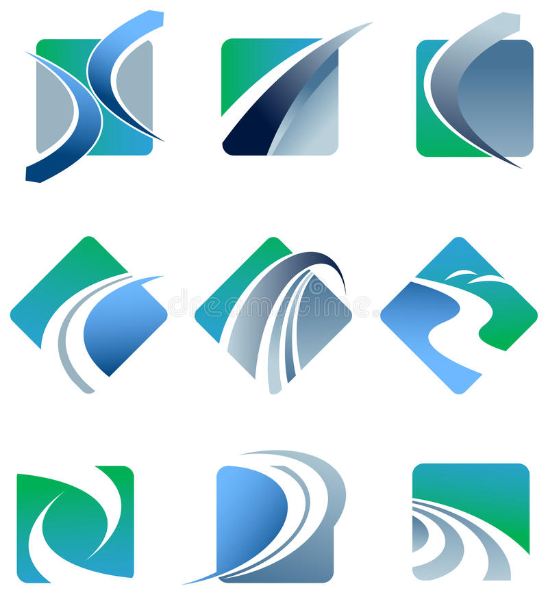 Abstract trail logo set. Vector illustration royalty free illustration