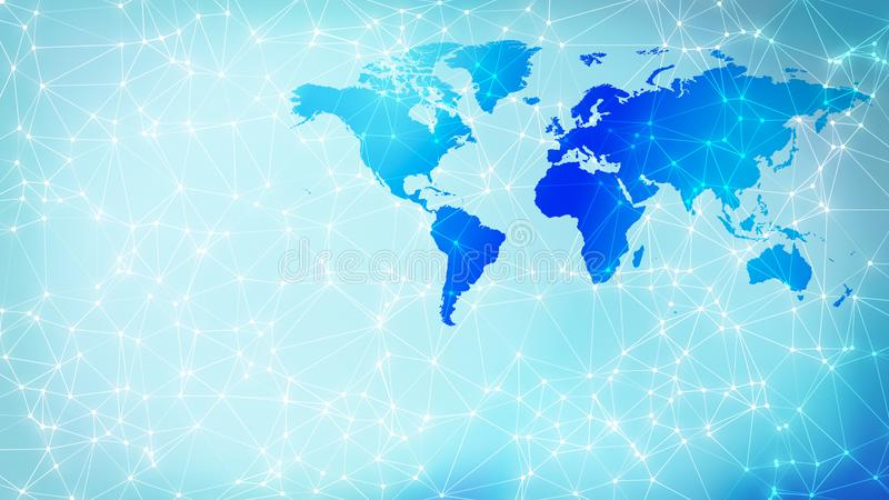 Abstract transformation digital wires polygonal lines and world map. Connected dots with lines and graphic world map, creative abstract background. Global stock photo