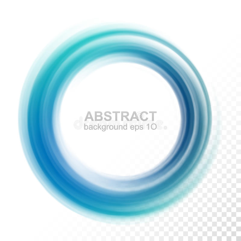 Abstract transparent blue swirl circle stock illustration