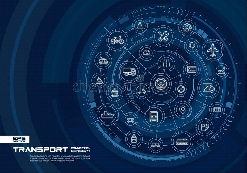 Abstract transportation background. Digital connect system with integrated circles, glowing thin line icons. vector illustration