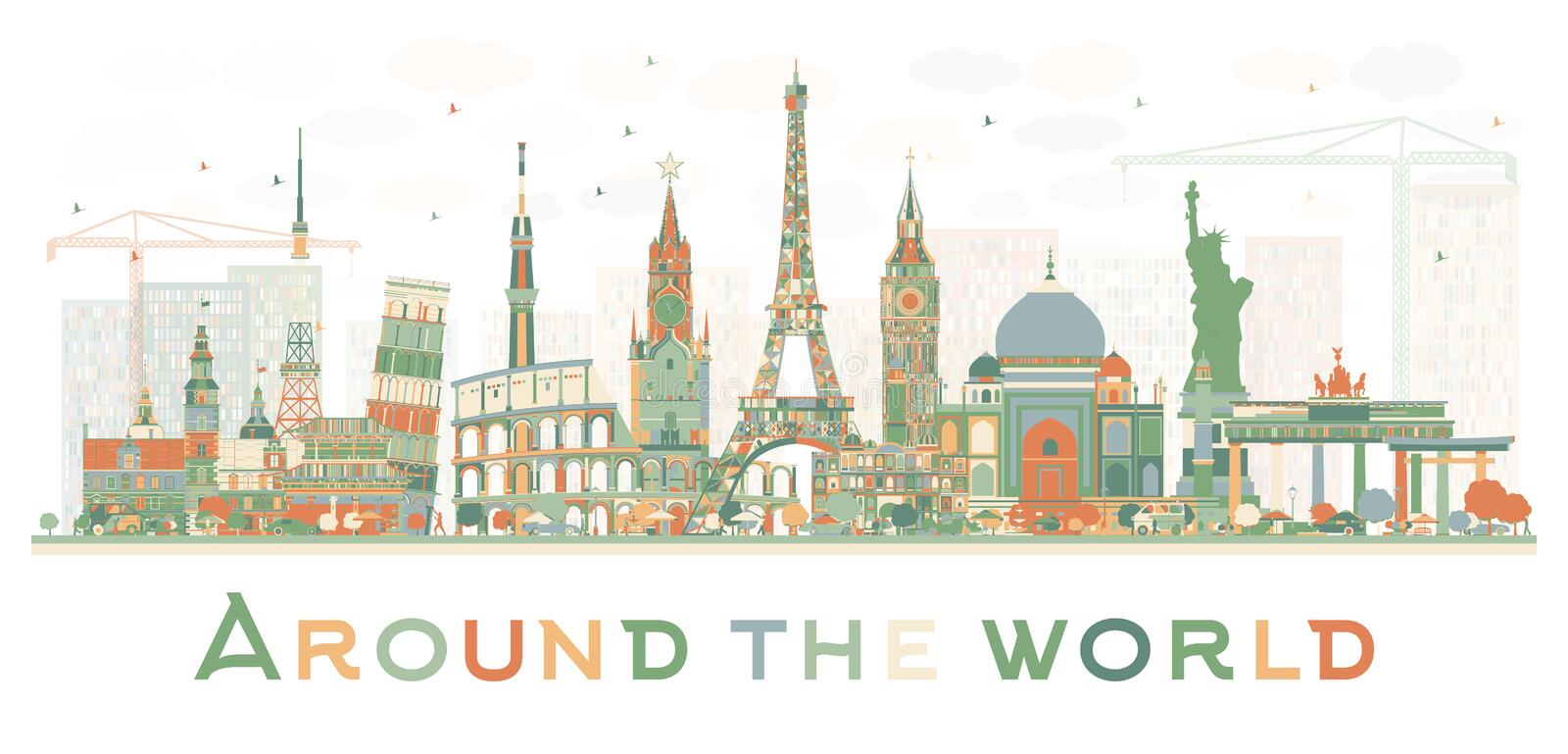 Abstract Travel Concept Around the World with Famous International Landmarks. vector illustration