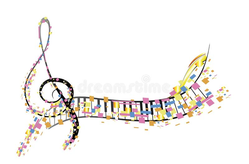 Abstract treble clef decorated with colorful mosaic. Abstract treble clef decorated with red roses, notes. Hand drawn vector musical illustration stock illustration