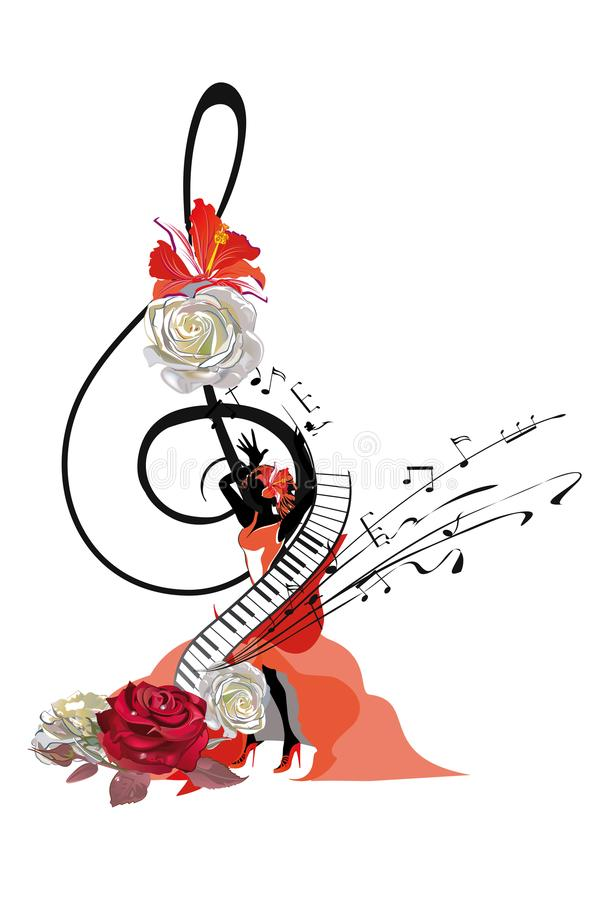 Abstract treble clef decorated with a salsa dancer and roses. Abstract treble clef decorated with a salsa dancer and roses, notes. Hand drawn vector royalty free illustration