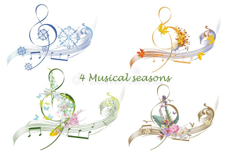 Abstract treble clef decorated with summer, autumn, winter and spring decorations: flowers, leaves, notes, birds. Hand drawn musical vector illustration royalty free illustration