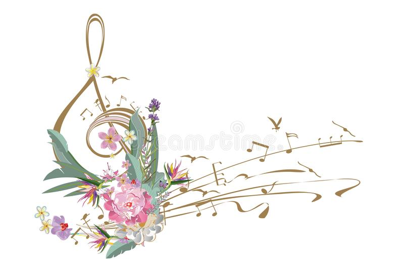 Abstract treble clef decorated with summer and spring flowers. Abstract treble clef decorated with summer and spring flowers, notes. Hand drawn vector vector illustration