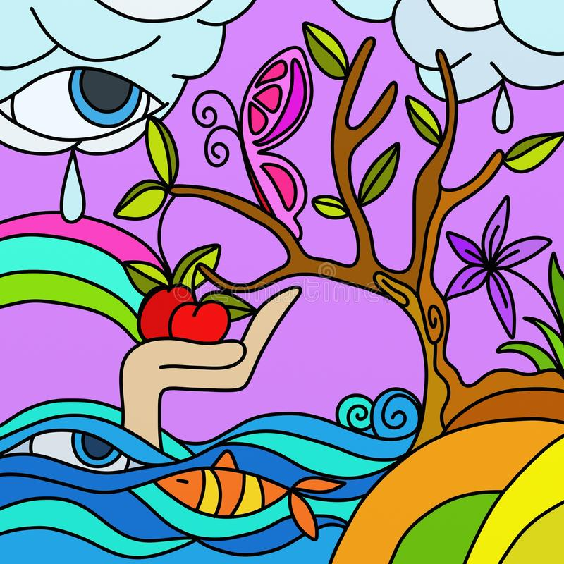 Abstract tree with apples royalty free illustration