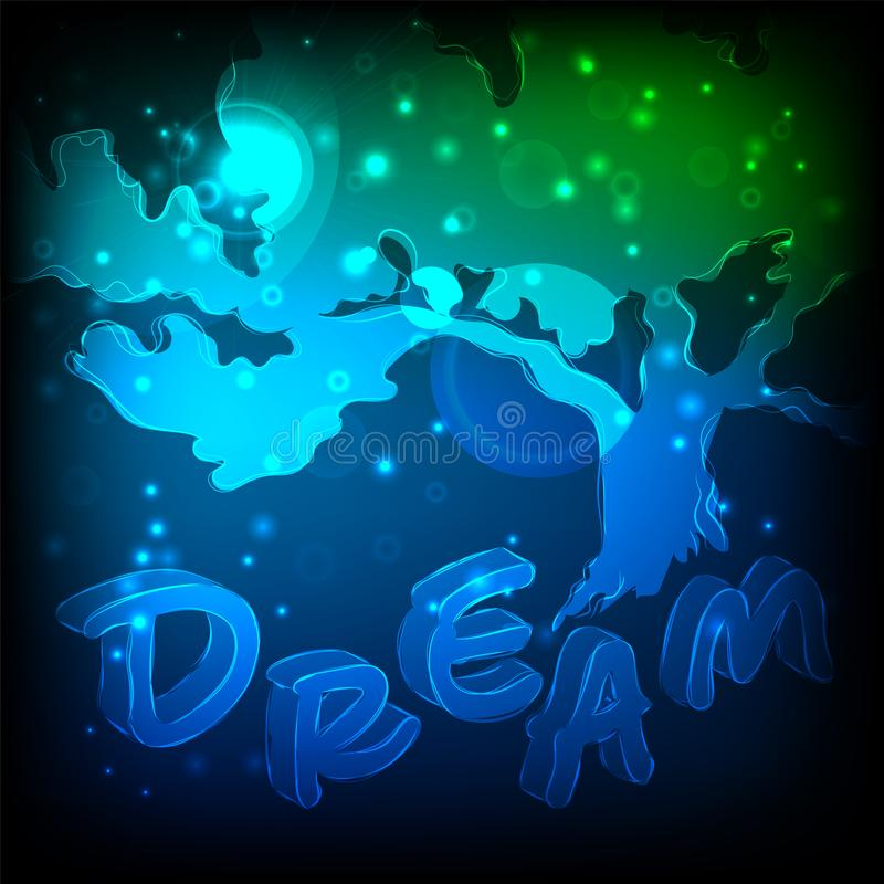 Abstract tree being in dreams. Postcard with space for your text. stock illustration