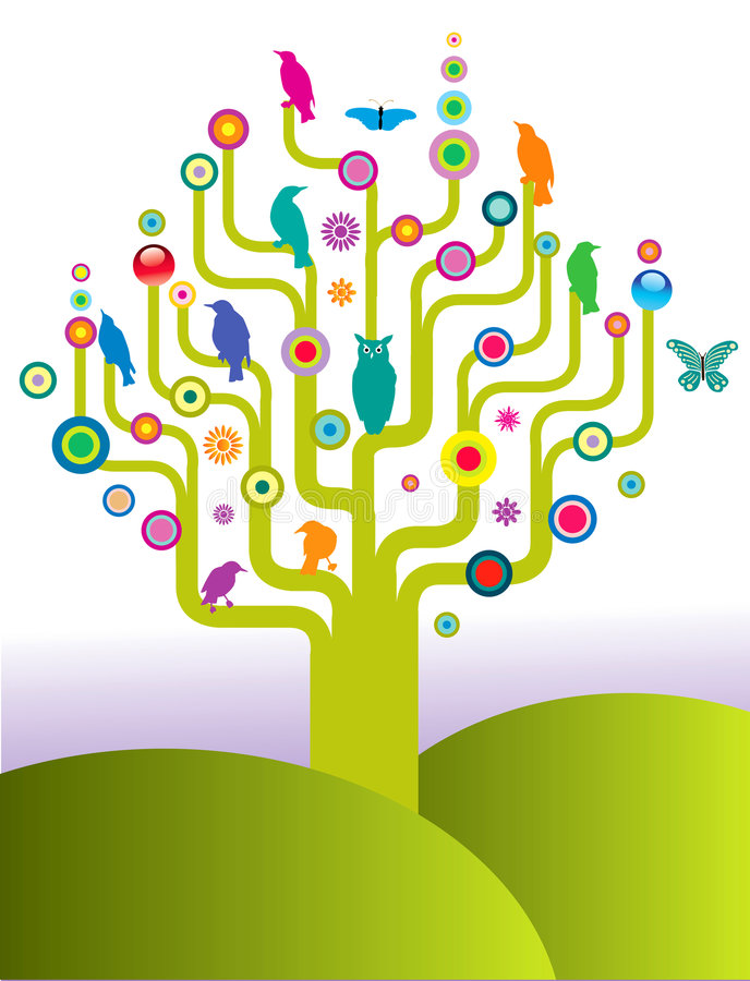 Abstract tree with birds vector illustration