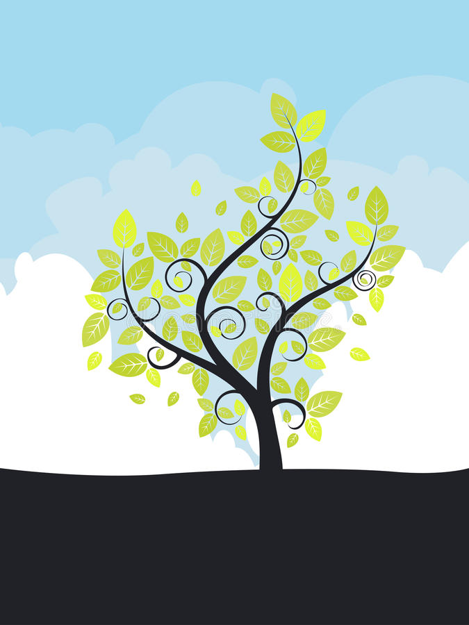 Download Abstract Tree And Blue Sky Stock Vector - Image: 43289410