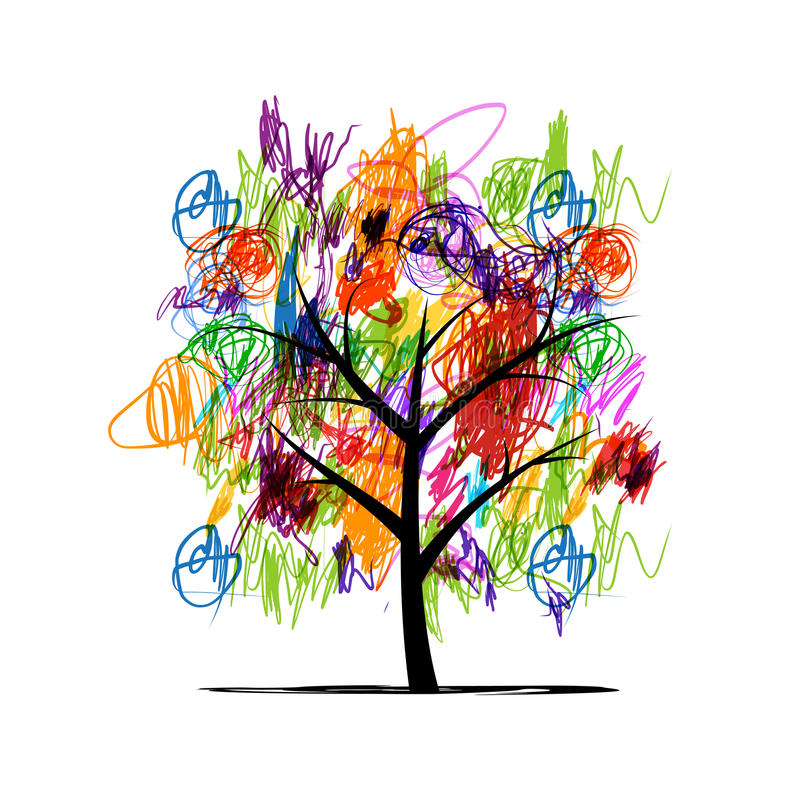 Abstract tree with children paintings stock illustration
