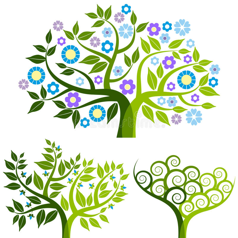 Download Abstract Tree With Flowers - Set Stock Vector - Image: 13308939