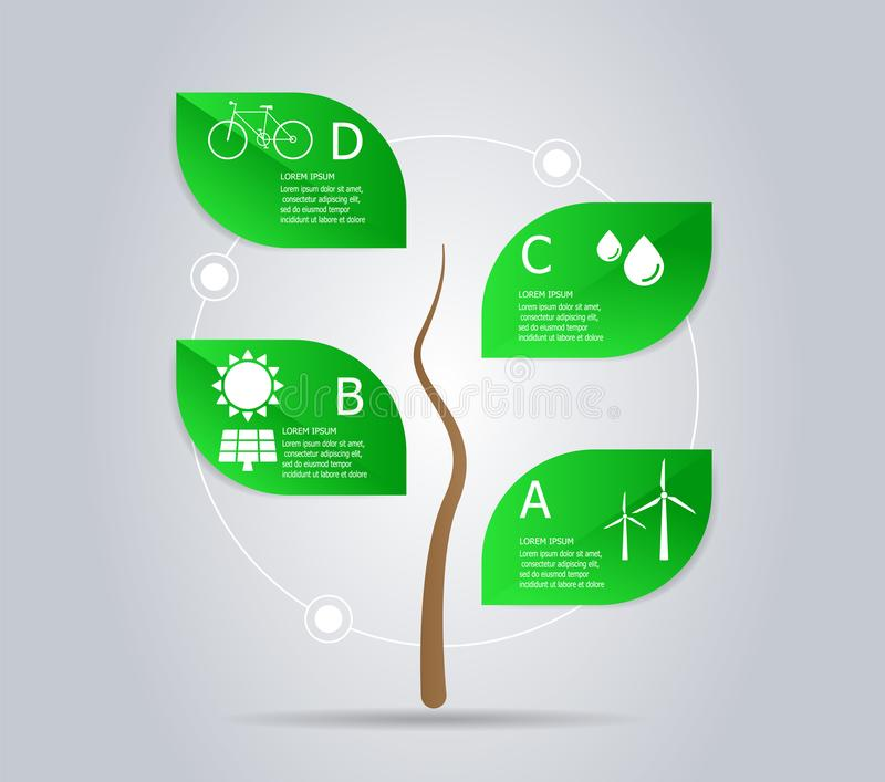 Abstract tree green power infographic element vector illustration