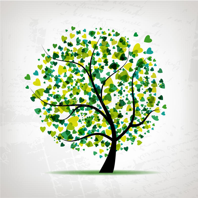 Abstract tree with heart leaf on grunge background royalty free illustration