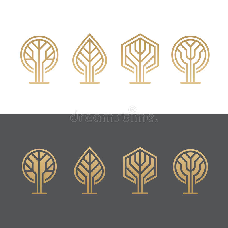 Abstract tree logos royalty free illustration