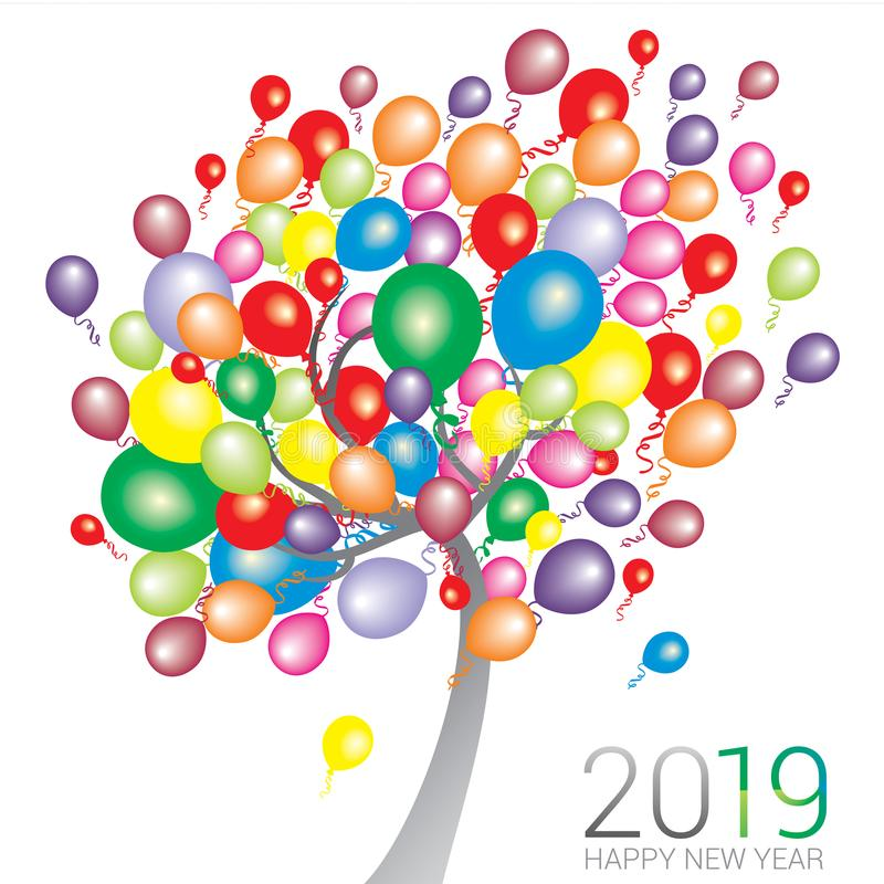 Abstract tree with multi color balloons with the text Happy New Year 2019 stock illustration