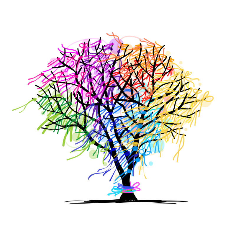 Abstract tree with ribbons vector illustration