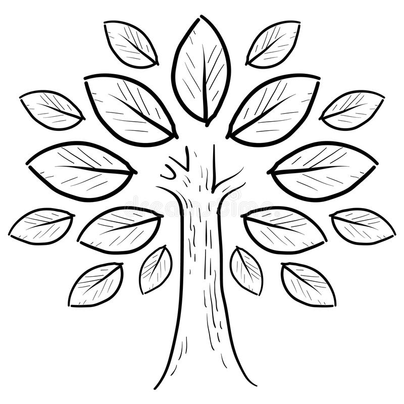 Abstract tree sketch royalty free illustration