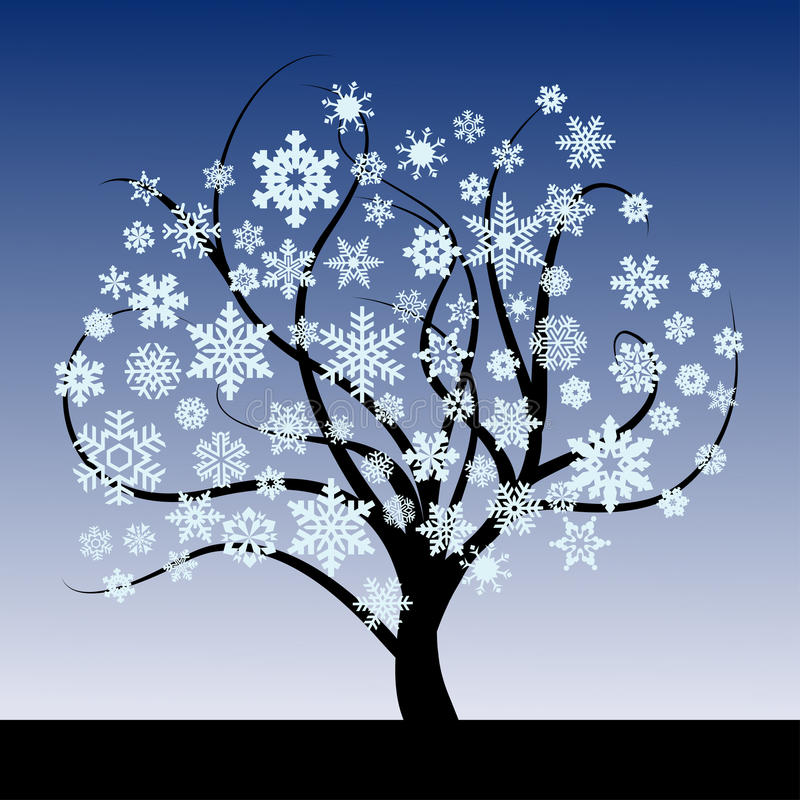 Abstract tree with snowflakes stock illustration