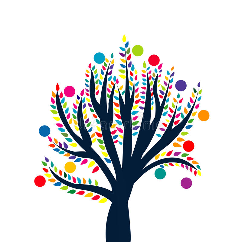 Free Abstract Tree With Colored Leaves And Fruits Stock Images - 44313744