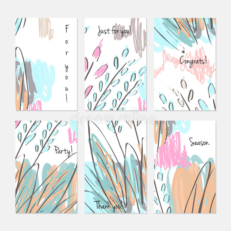 Abstract trees and bushes on marker brush royalty free illustration