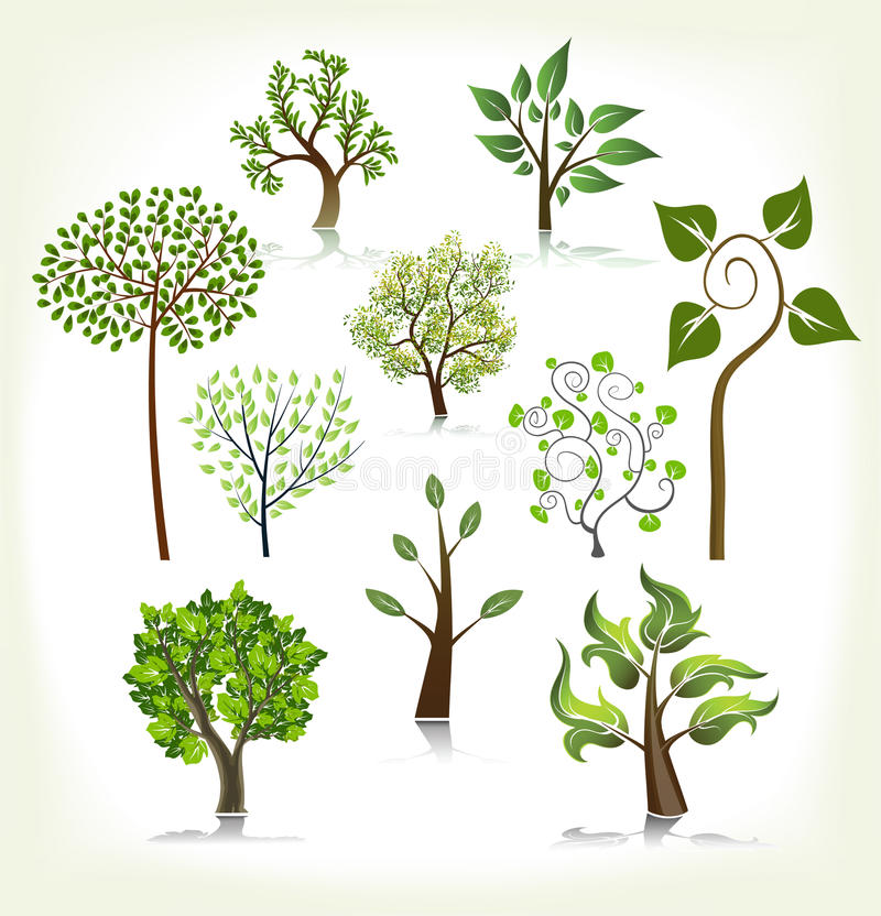 Download Abstract trees collection stock vector. Illustration of painting - 11038289