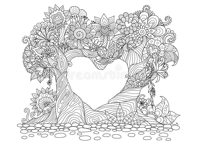 Abstract trees in heart shape line art design for coloring book royalty free illustration