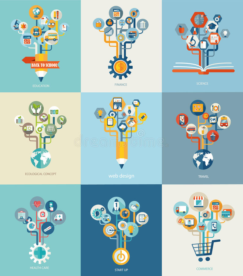 Abstract trees with icons for web design. stock illustration
