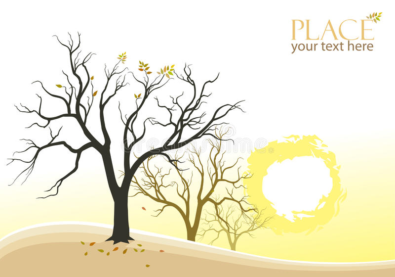 Download Abstract Trees And Sun Background Stock Vector - Image: 26542559