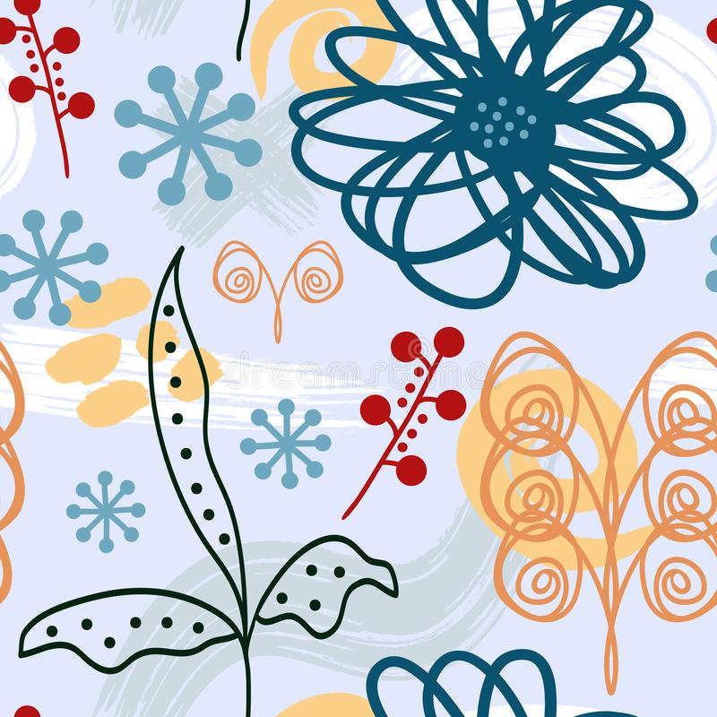 Abstract trendy floral seamless pattern. Flowers and watercolours brushstrokes painted by hand. vector illustration