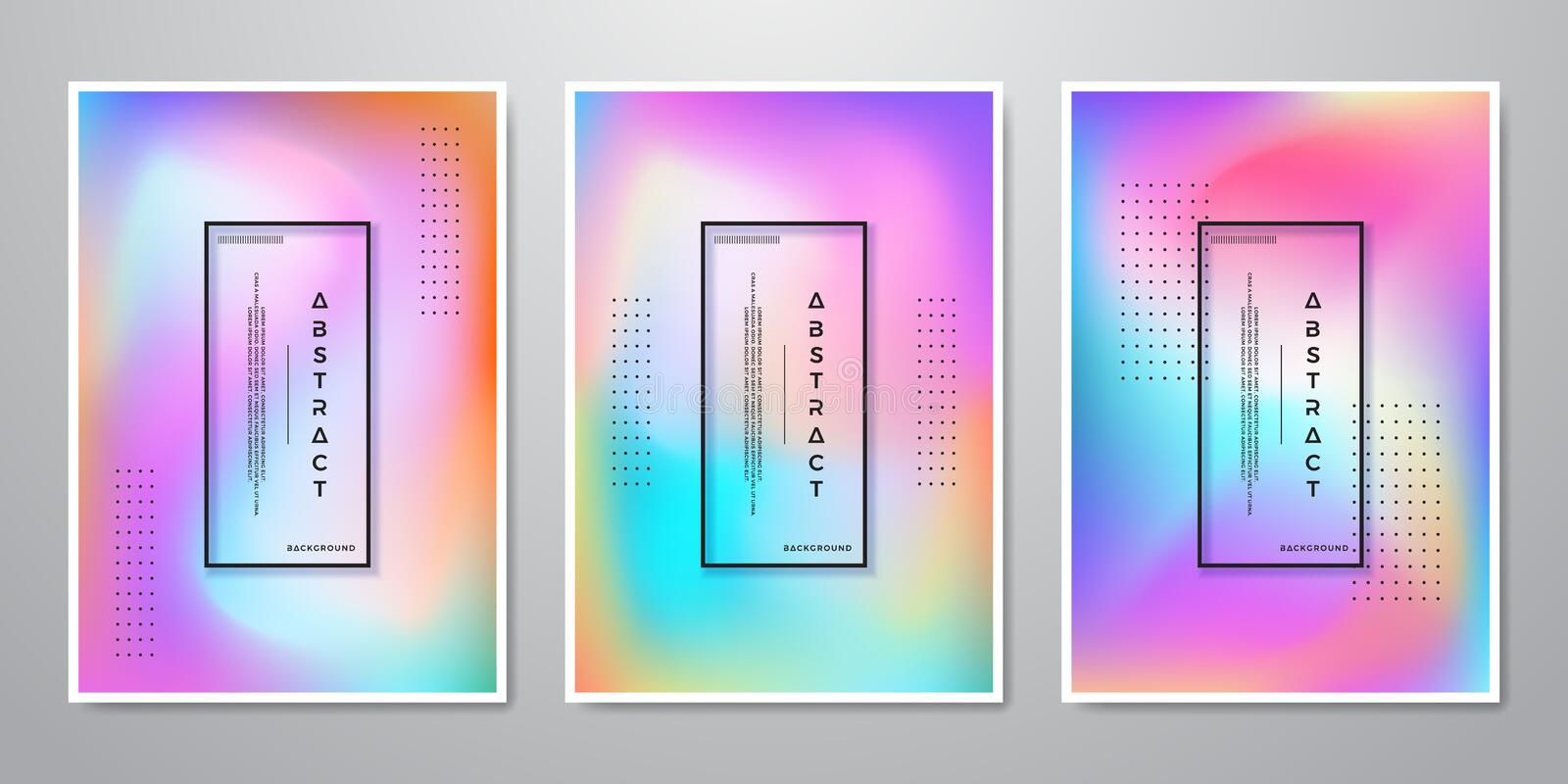 Abstract Trendy Gradient Shapes Holographic Backgrounds for Mobile Screen, Advertising, Backdrop, Brochure, Cover, Flyer, stock illustration