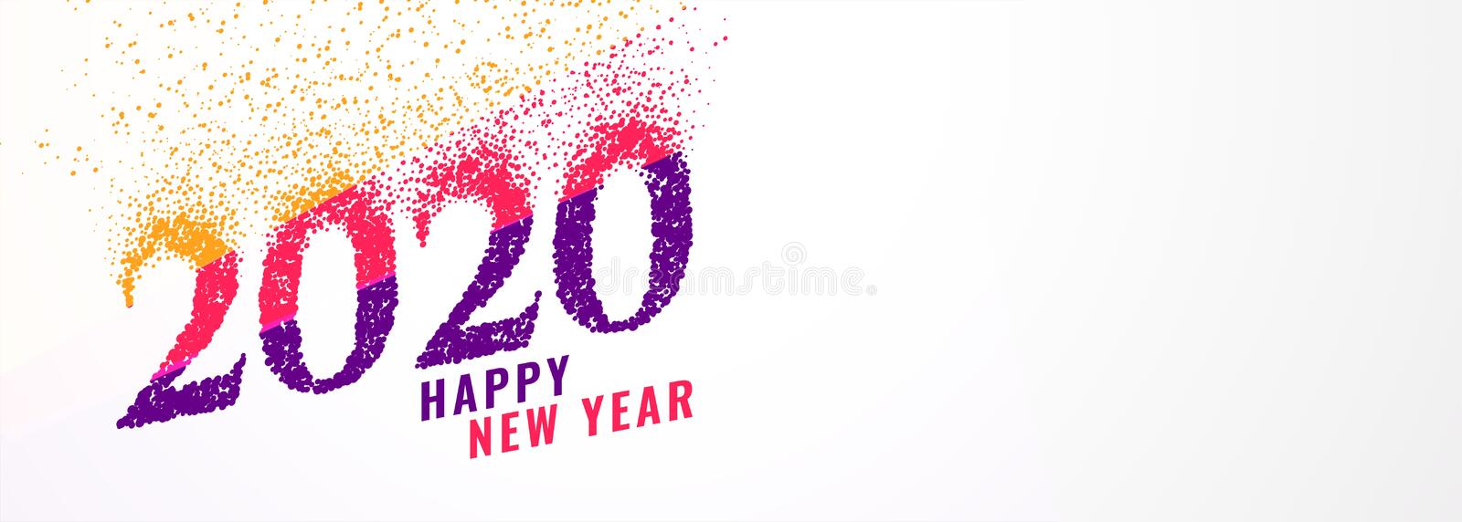 Abstract trendy 2020 new year banner with sparkles vector illustration