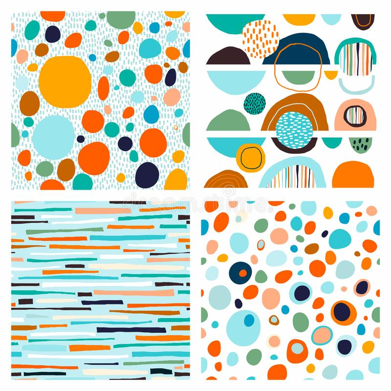 Abstract trendy collection of four seamless patterns with geometric shapes stock illustration