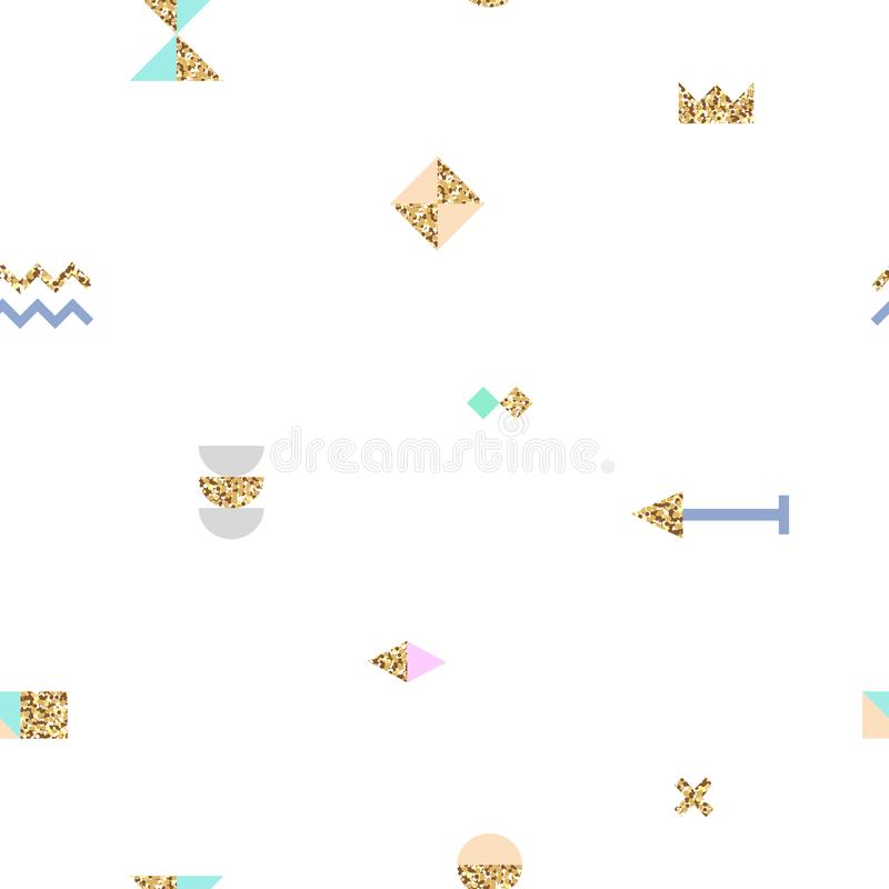 Abstract trendy seamless pattern with different geometric shapes with gold texture. royalty free illustration