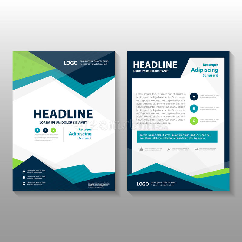 Abstract Triangle Blue Green Purple Polygon Annual Report Leaflet - Brochure template download