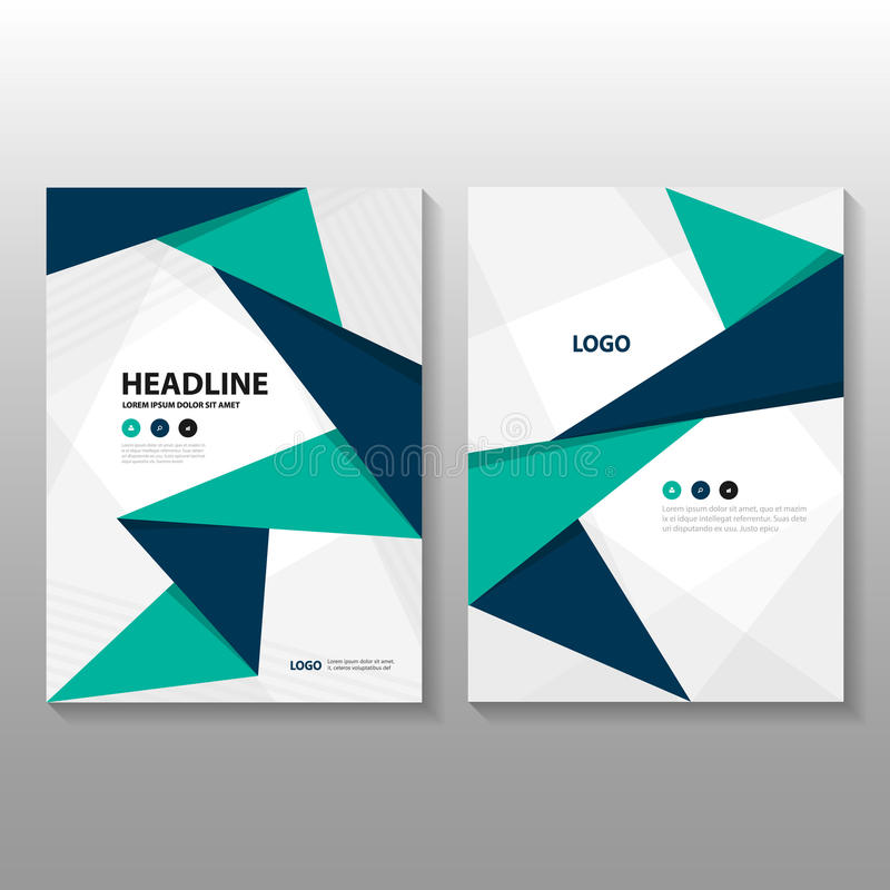 Abstract triangle Blue green purple polygon annual report Leaflet Brochure Flyer template design, book cover layout design vector illustration