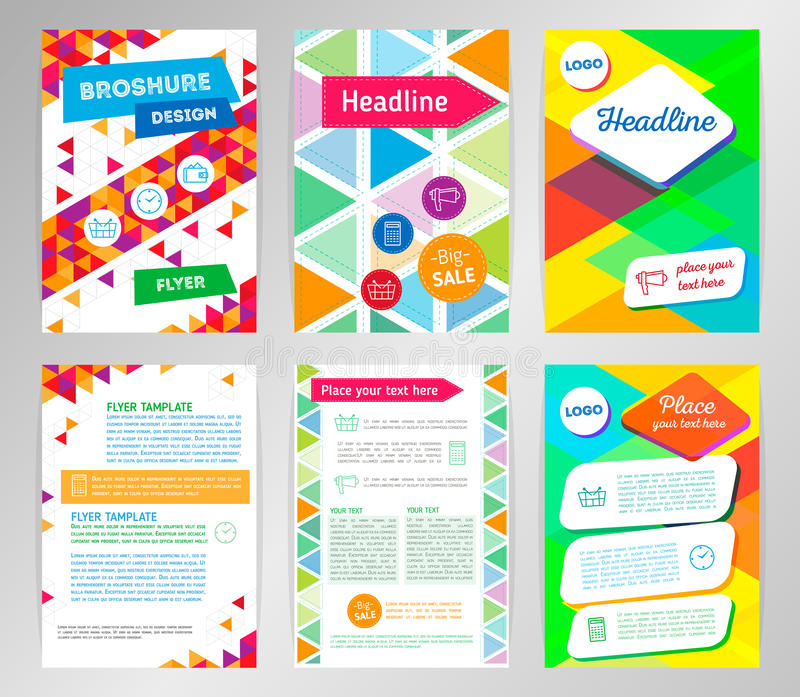 Abstract Triangle Brochure Flyer design vector template in A4 si royalty free illustration