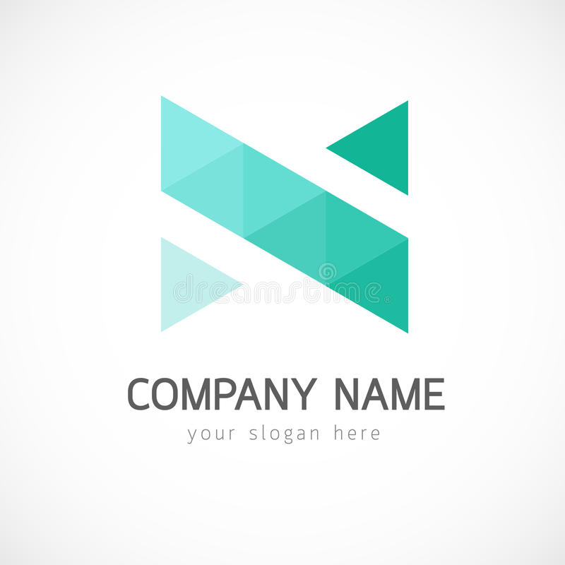 Abstract triangle logo template. Design based on letter N royalty free stock photos