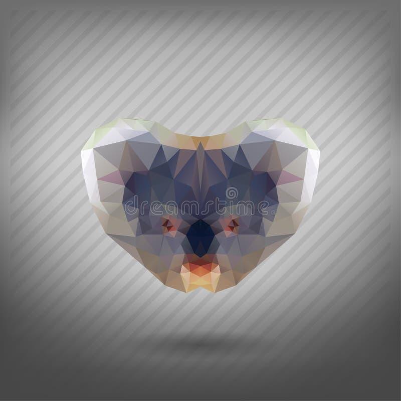 Abstract triangle polygonal animal koala. Abstract triangle polygonal animal in the style of origami koala stock illustration