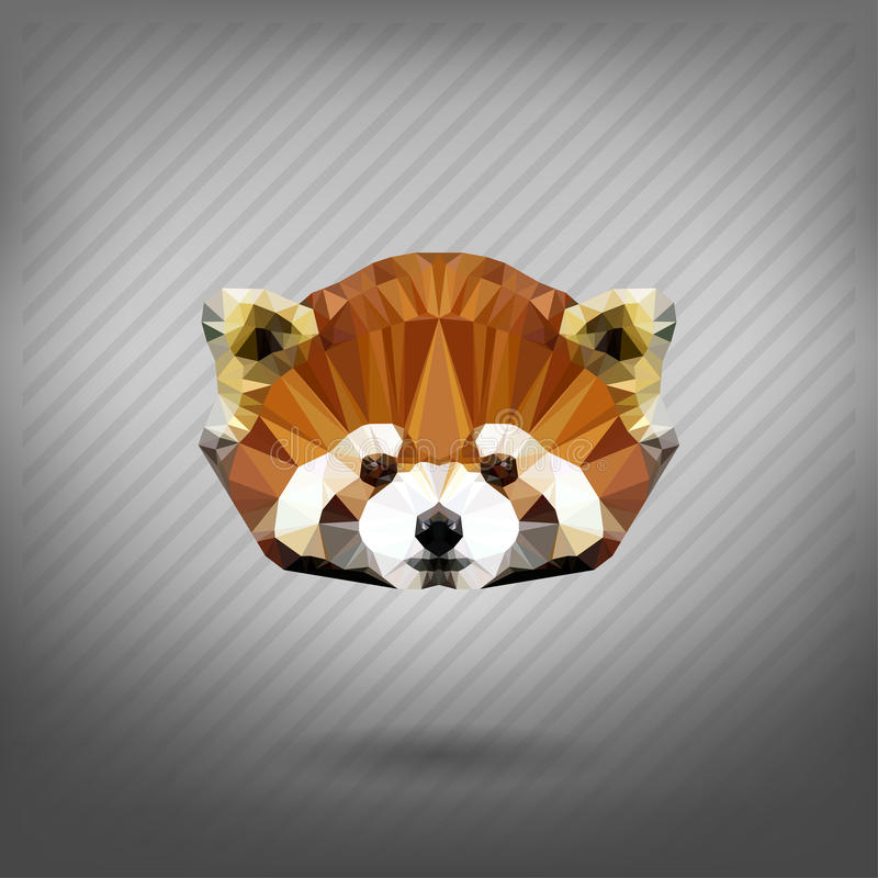 Abstract triangle polygonal animal red raccoun. Abstract triangle polygonal animal in the style of origami red raccoun vector illustration