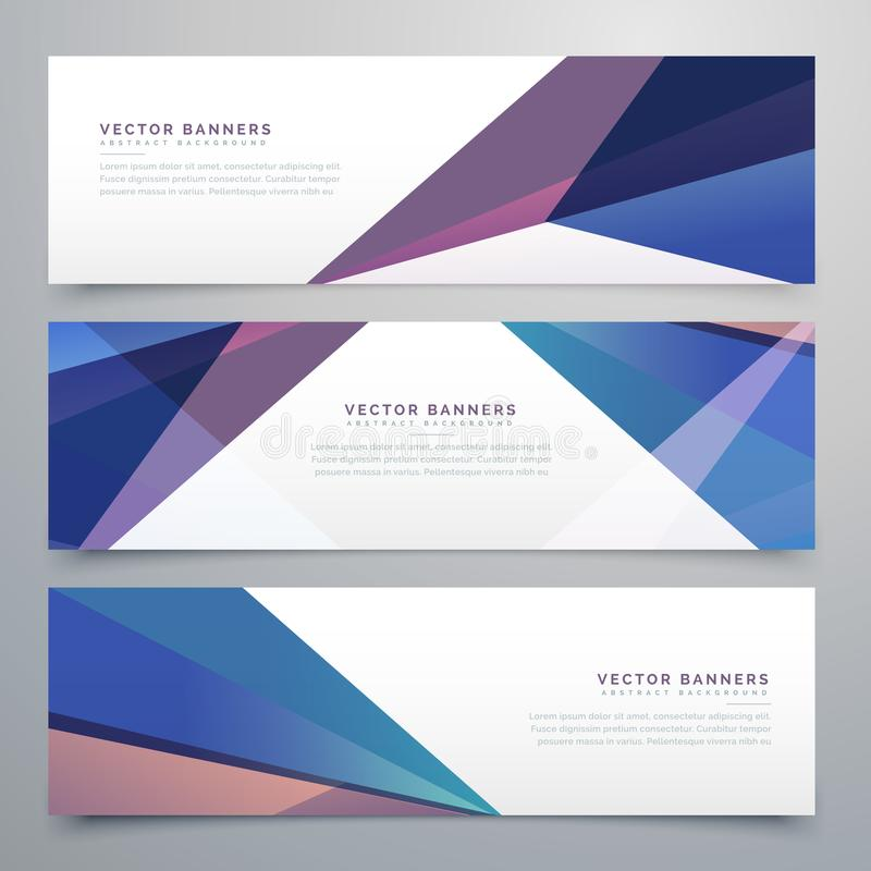 Abstract triangle shape headers set stock illustration