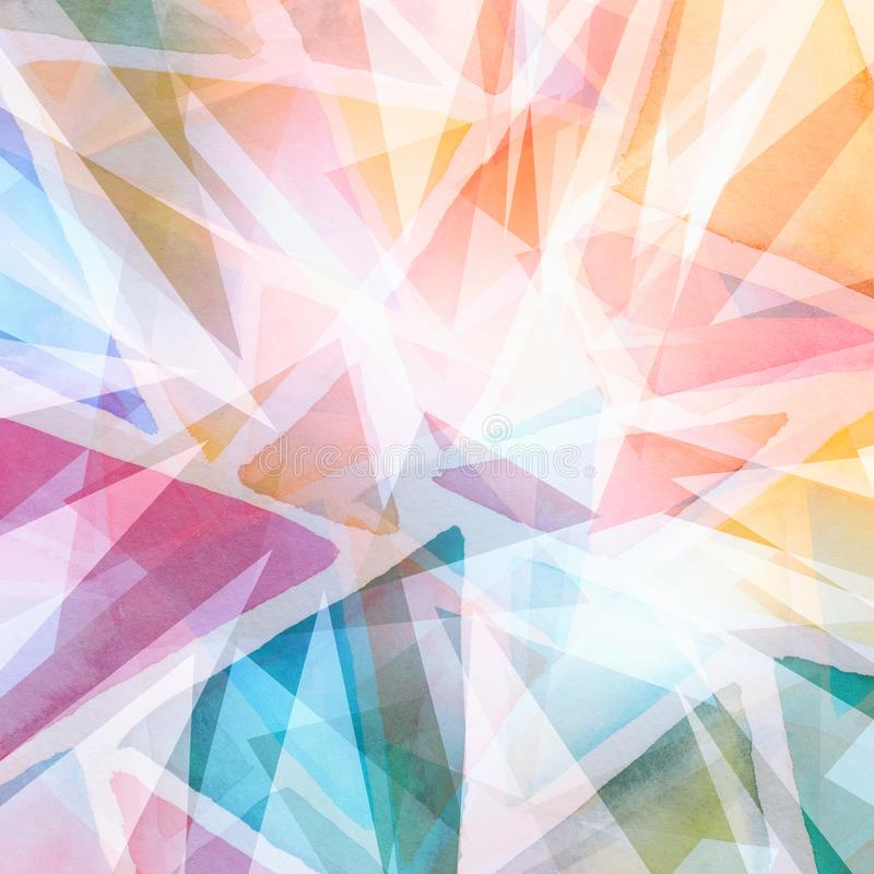Abstract triangle shapes layered in random pattern, orange pink blue green yellow and purple on white background, transparent geom. Etric triangle background vector illustration