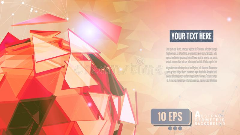 Abstract triangle sphere glowing on low poly BG. Red polygonal abstract triangle sphere glowing on light orange low poly background stock illustration