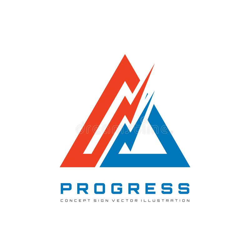 Abstract triangle - vector logo template concept illustration for corporate identity. Pyramid sign. Lightning symbols. Progress vector illustration