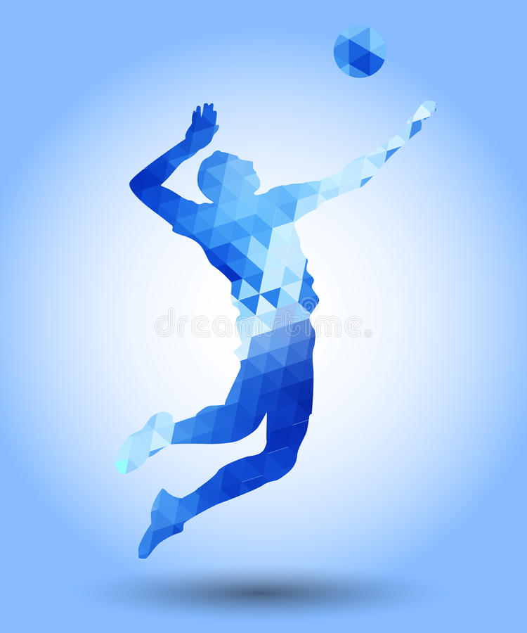 Abstract triangle volleyball player silhouette stock illustration