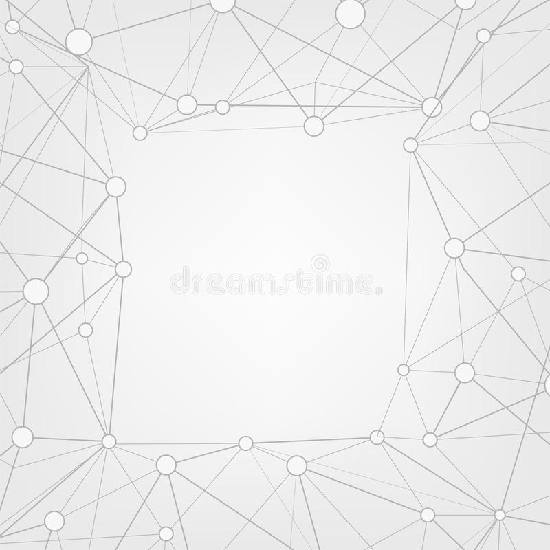 Abstract triangles copy space background. Low poly frame with place for text. Dots and lines connected. vector illustration