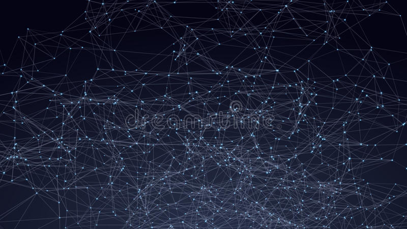 Abstract triangles space low poly. Dark background with connecting dots and lines. Light connection structure. Polygonal royalty free illustration