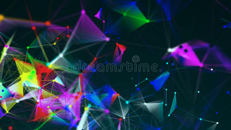 Abstract triangulation plexus with connections in space, background with connecting dots and lines, 3d rendering vector illustration